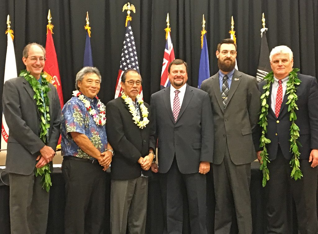 (Left to right) Dr. Brian L. Meyer, PTSD-SUD Specialist at H.H. McGuire VA Medical Center; Third Circuit Judge Greg K. Nakamura; Third Circuit Chief Judge and Presiding Judge of the Veterans Treatment Court Ronald Ibarra; Scott Swain, Justice for Vets Division Director; David Pelletier, J.D., Project Director for the Veterans Treatment Court Planning Initiative at the National Association of Drug Court Professionals (NADCP); and Chief Justice Mark Recktenwald, Hawaii Supreme Court at the Big Island Veterans Treatment Court Conference held today at the Mauna Lani Bay Hotel. Courtesy photo.
