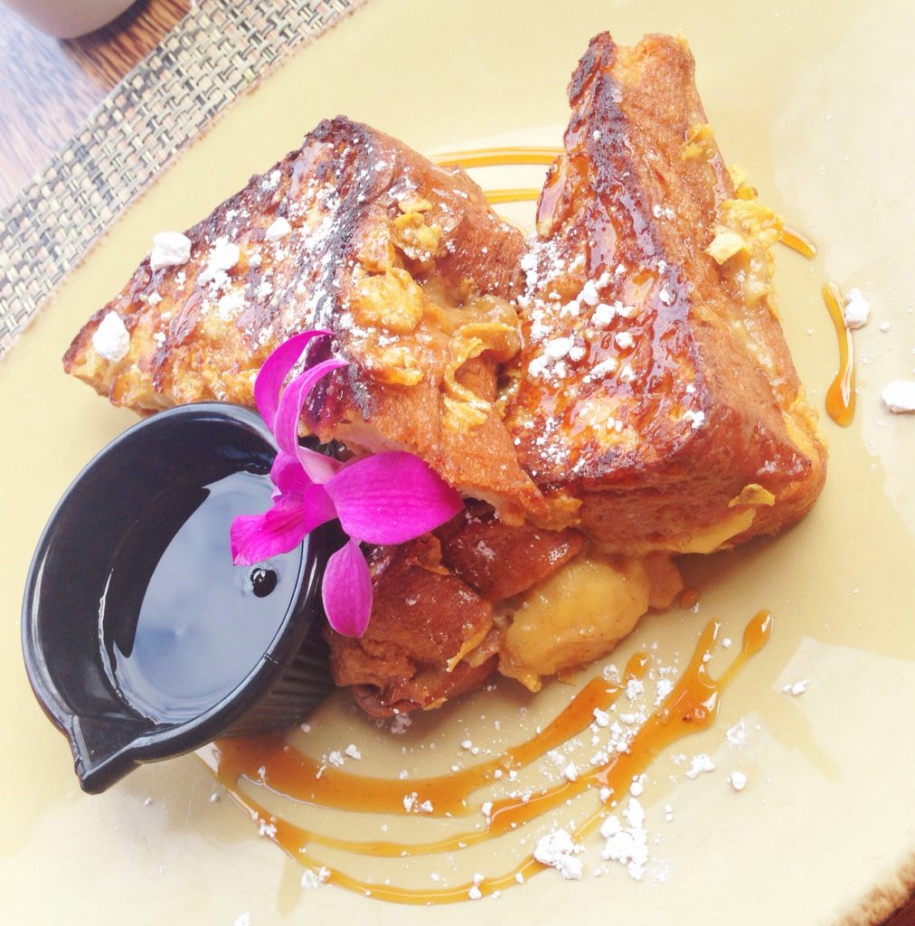 Apple Banana and Tahini Stuffed French Toast from Huggo's. Courtesy photo.