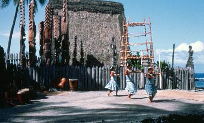 The Chief's House is a principal feature along the virtual trail to Pu'uhonua o Honaunau National Historical Park. NPS photo
