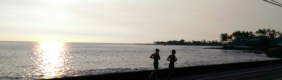 James and Kevin One benefit of training in Kona is a sunset run along a portion of the Ironman running course. James Resor and Kevin Rhinehart are among the Big Island athletes competing in the 2016 Ironman World Championships. Photo: Crystal Richard