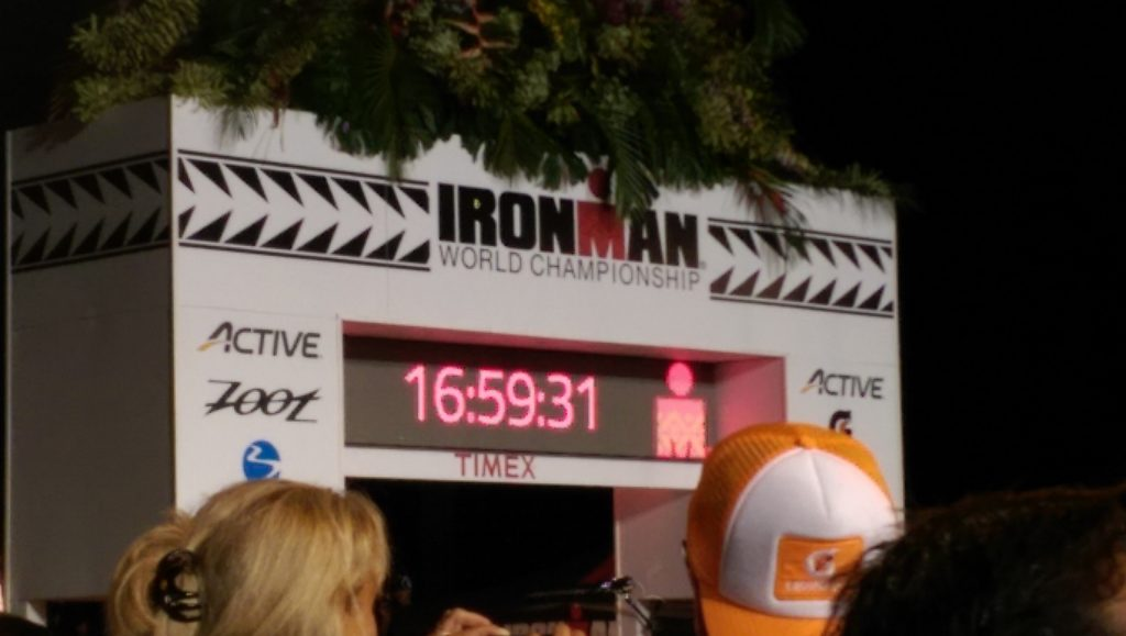 Official race clock counts down to the cut-off time of 17 hours just before midnight on Oct. 8, 2016. Crystal Richard photo