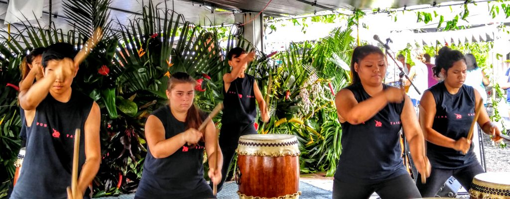 Puna Taiko performing during the Fourth Annual Liliko'i Festival on Saturday, Oct. 15, at the Maku'u Farmers Market in Puna. Photo: Crystal Richard.