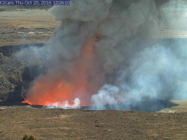 Two explosions in as many days were triggered by rocks falling into Kīlauea Volcano's summit lava lake. The event shown above occurred around 12:26 p.m., HST, Thursday, Oct. 20. The other explosion happened around 7:45 a.m. on Wednesday, Oct. 19. Both events are reminders why the area around Halemaʻumaʻu Crater remains closed to the public. HVO/USGS photo.