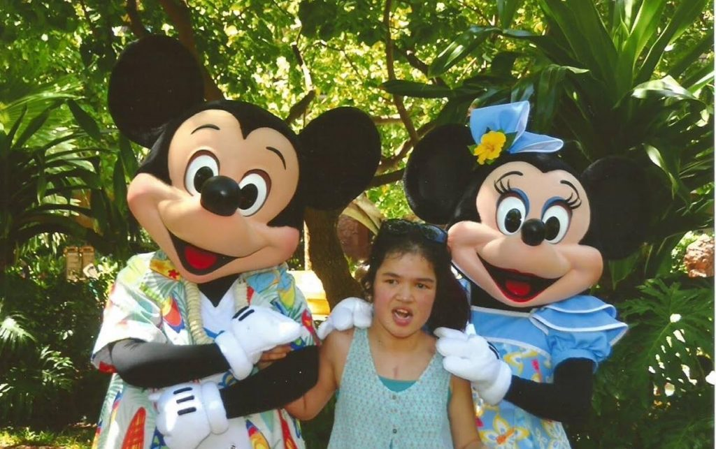 Have fun and support Big Island terminally and chronically ill keiki by attending the All You Can Eat Ice Cream Party on Sunday, Oct.16, from 11 a.m. to 3 p.m. Pictured here is Lindsey Kalini, who resides in the Hilo area. Her dream was fulfilled when she went to the Disney Resort on O'ahu and met Mickey and Minnie Mouse. Courtesy photo.