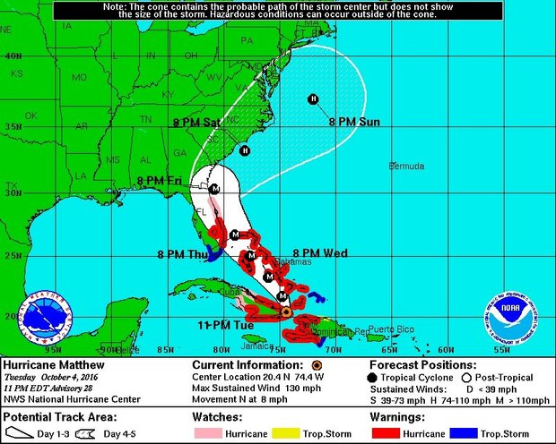 Hurricane Matthew made landfall on the coast of Haiti on Tuesday morning, Oct. 4, with 145 mph winds. It made its second landfall just over 12 hours later in eastern Cuba on Tuesday night. Matthew could move very close to the East Coast of Florida later this week, as well as Georgia and the Carolinas. National Hurricane Center image.