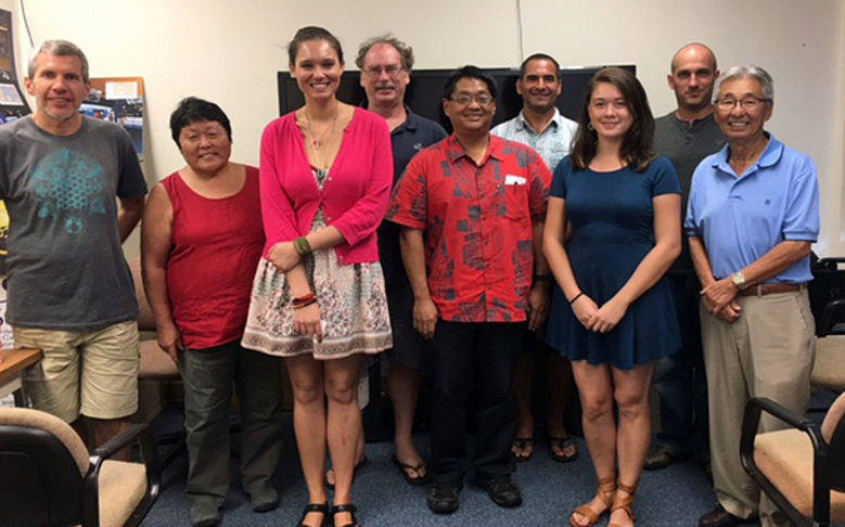PISCES interns Kyla Defore and Ashley Garnett presented their summer projects and research findings to members of the County and State offices, PISCES staff and University of Hawai'i affiliates. Courtesy photo.
