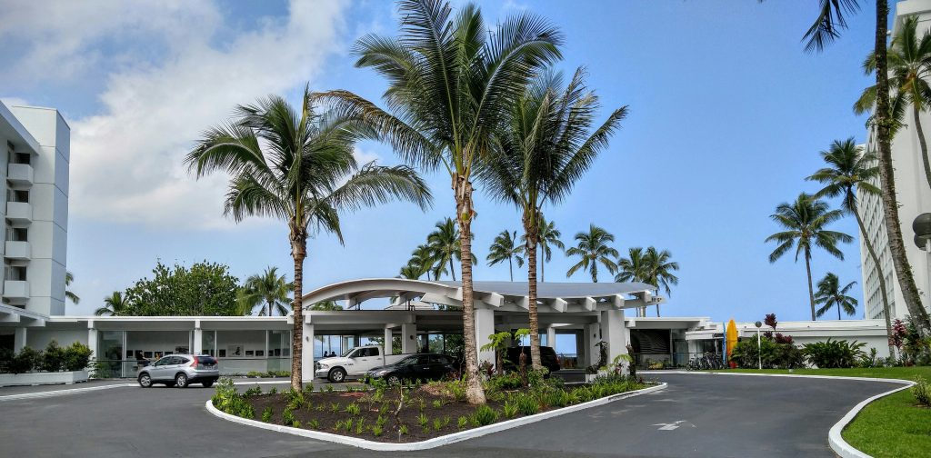 The oceanfront Hotel Naniloa on Banyan Drive in Hilo officially became The Grand Naniloa Hotel Hilo – a DoubleTree by Hilton Nov. 10, 2016. Photo: Crystal Richard.