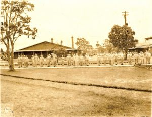 Soldiers outside Building 34 in Kīlauea Military Camp during the 1940s. Photo courtesy of Kīlauea Military Camp