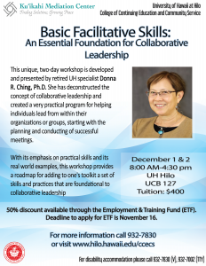 UH specialist Donna R. Ching, Ph.D. will host a two-day workshop about basic facilitative skills. Photo Courtesy