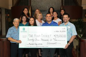 HCFCU members and Food Basket members show the check for more than $23,000 that was donated to The Food Basket. Photo Courtesy.