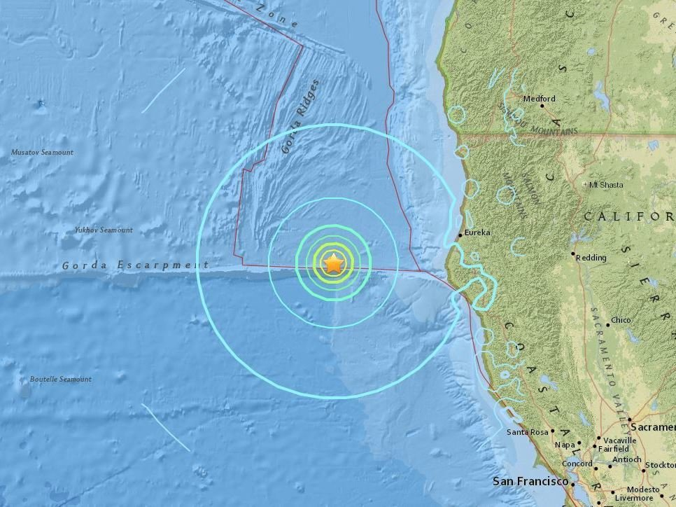 The epicenter of Thursday's earthquake was about 100 miles off the coast of Northern California. USGS National Earthquake Information Center