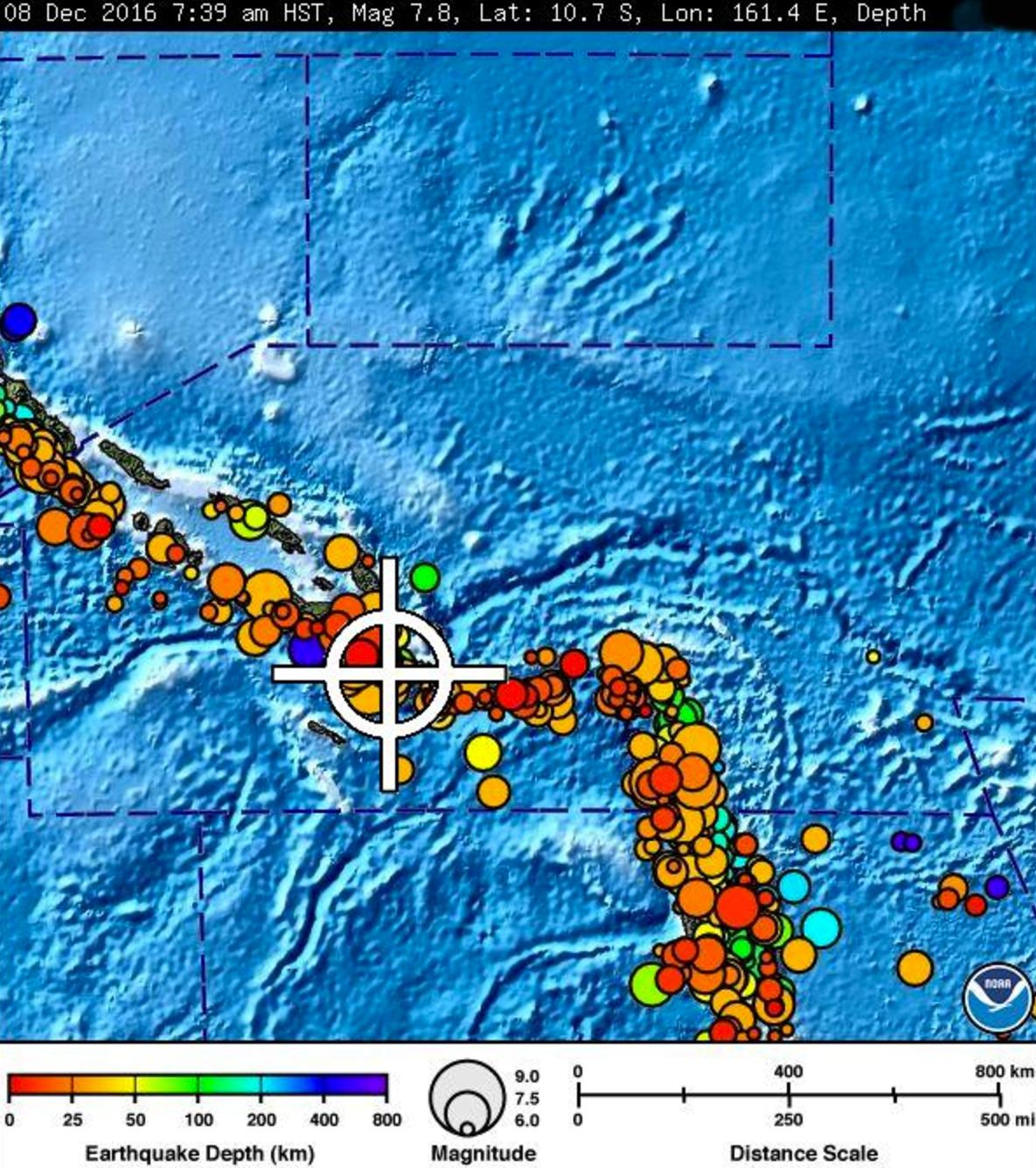 Solomon Island quake, Dec. 8, Hawai'i time. NWS/NOAA/Pacific Tsunami Center image