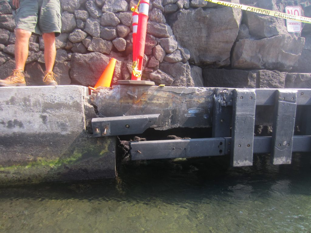 The Honokohau Small Boat Harbor mauka boat ramp loading docks are structurally deteriorated due to spalling of the concrete and corrosion of the steel reinforcement. Courtesy photo.