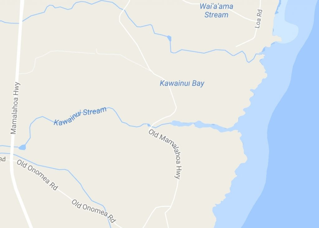 Kawainui Stream, Google map.