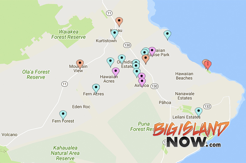 District Map Of The Big Island Of Hawaii
