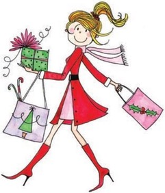 Christmas in July, woman shopper, packages