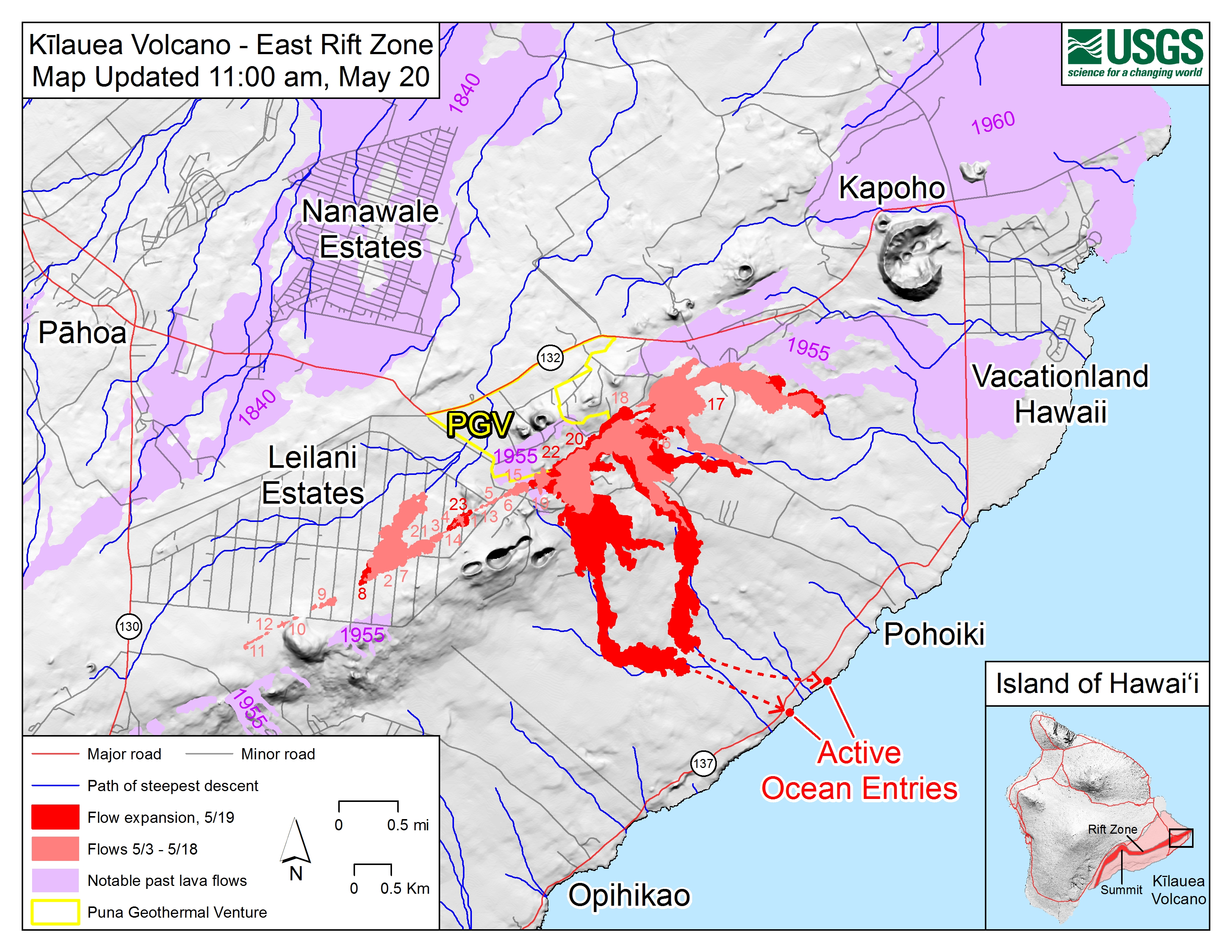 Hawaii Map Lava.Map Shows Where Ocean Lava Entries Are Big Island Now