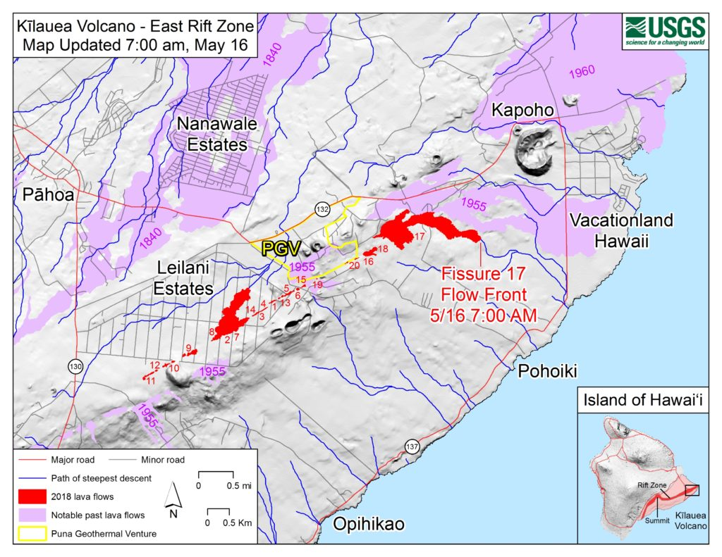 Hawaii Map Lava.New Map Shows Location Of Lava Flow Spreading Big Island Now