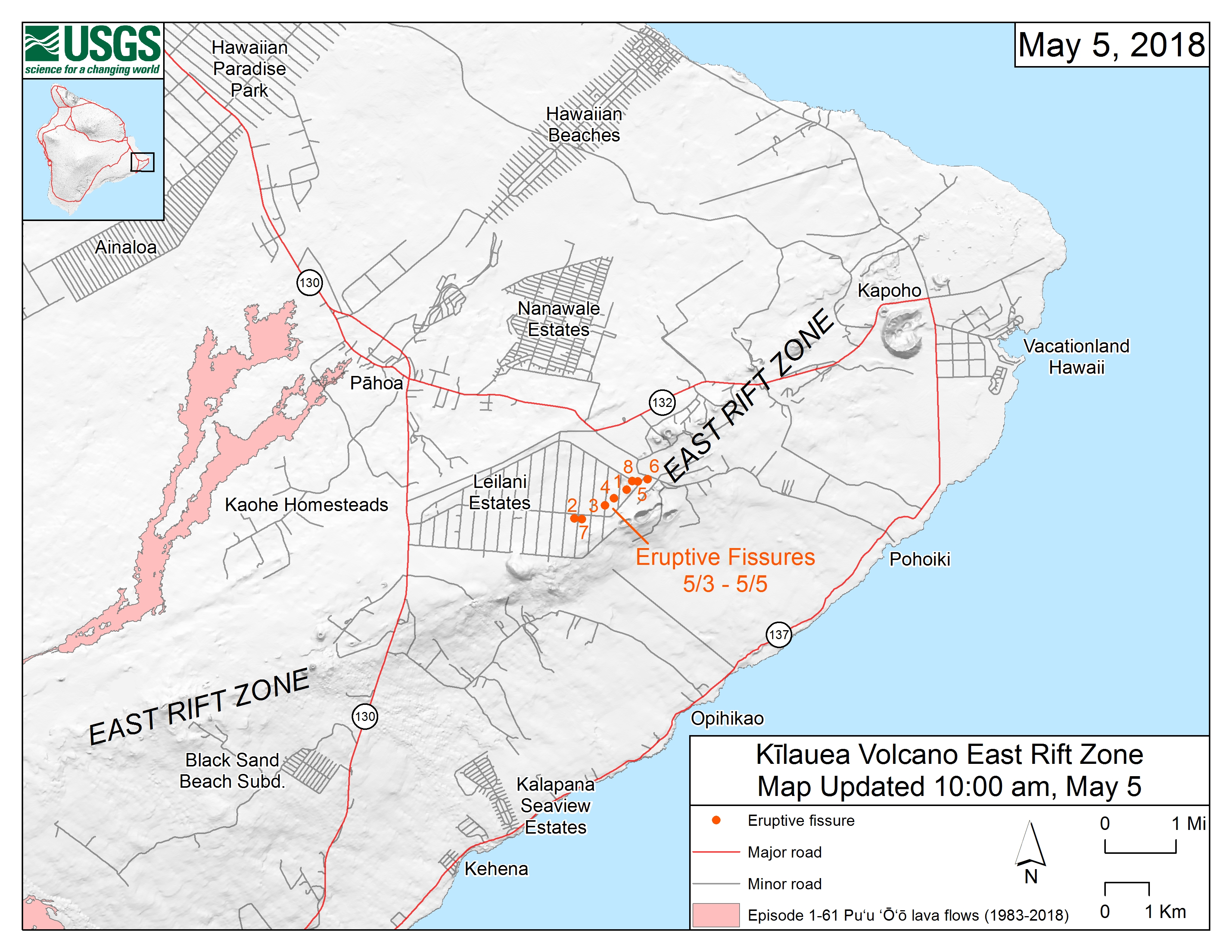 USGS Map Shows Location of 8 Fissures   Big Island Now