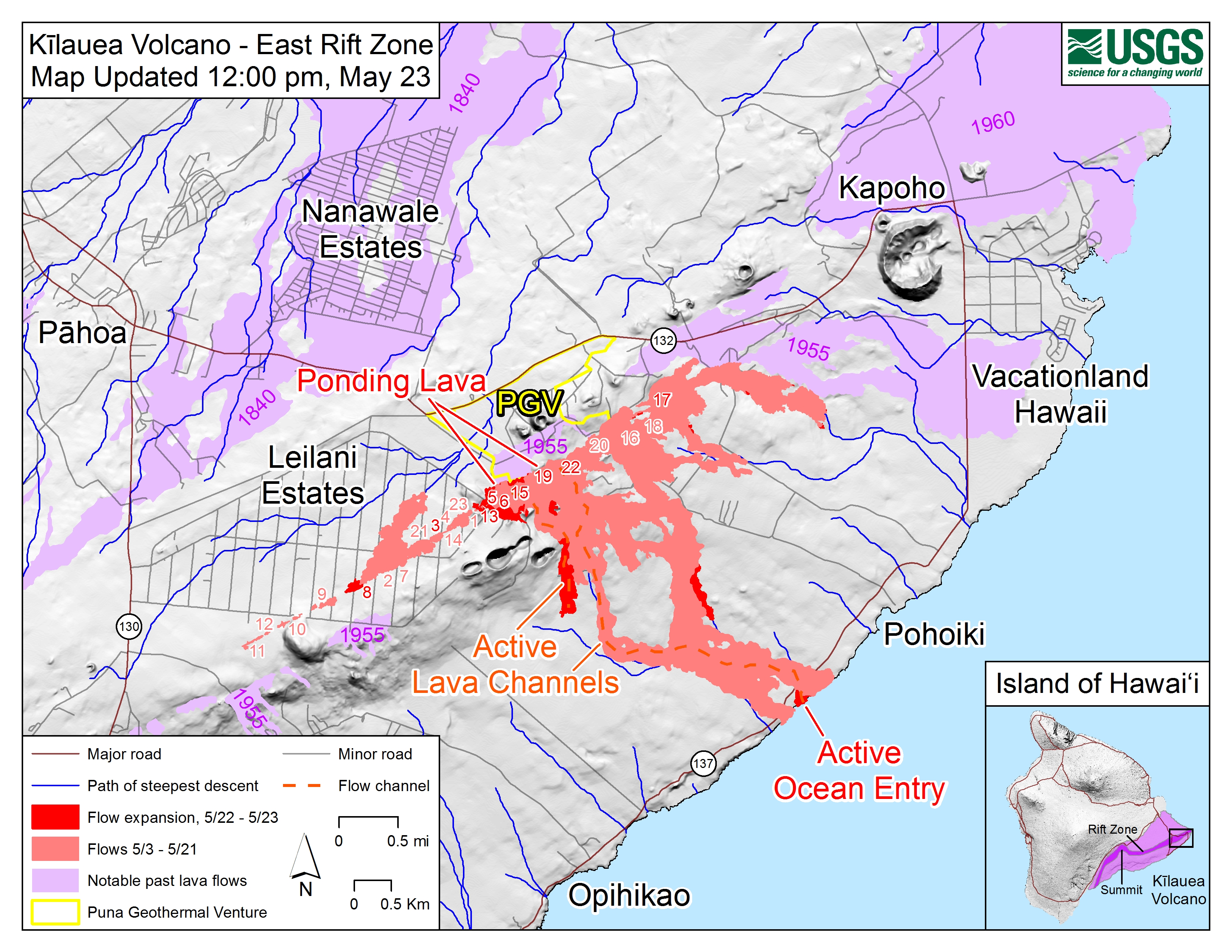 6 Pm New Lava Flow Expected To Enter Ocean Big Island Now