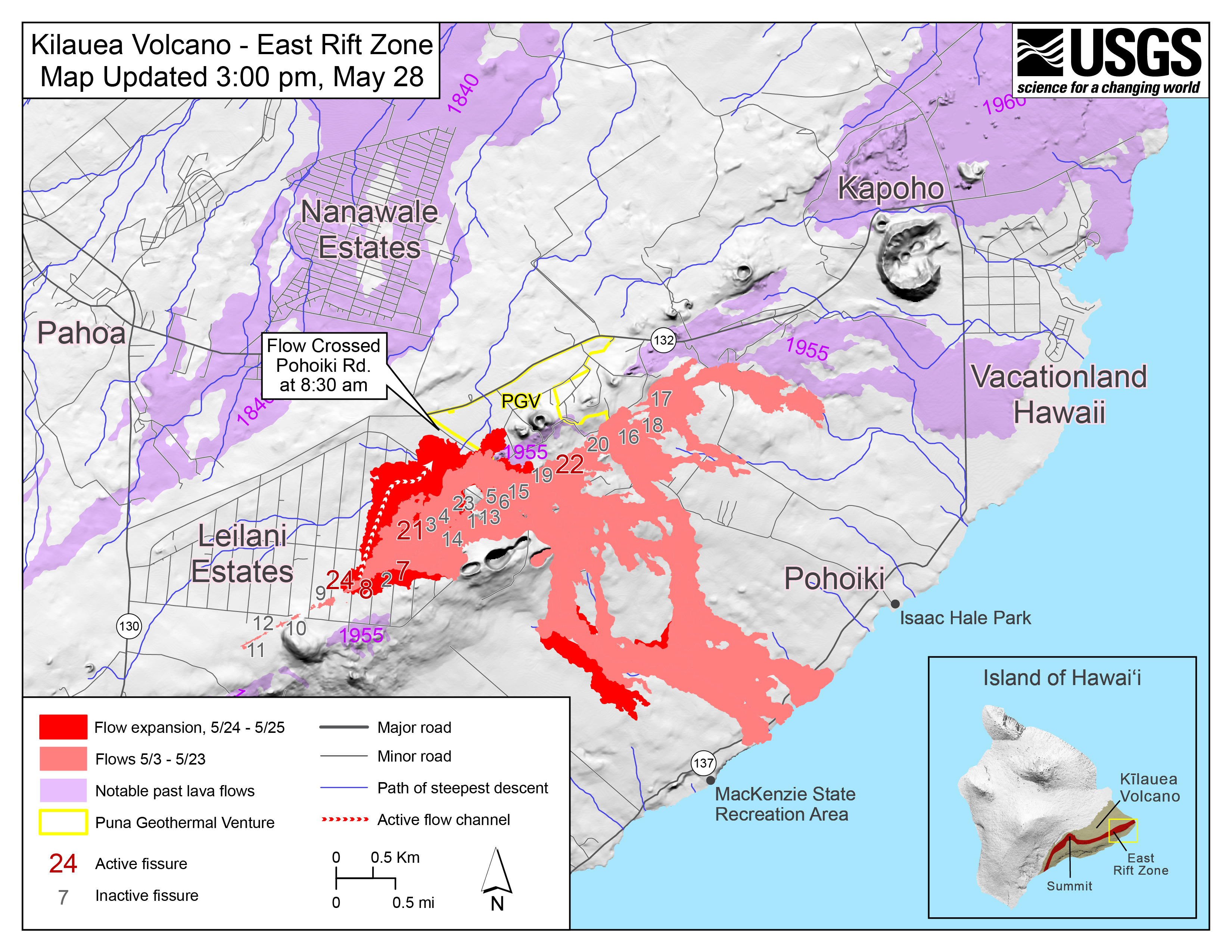 Hawaii Map Lava.New Map Shows Where Lava Flow Crossed Pohoiki Road Big Island Now