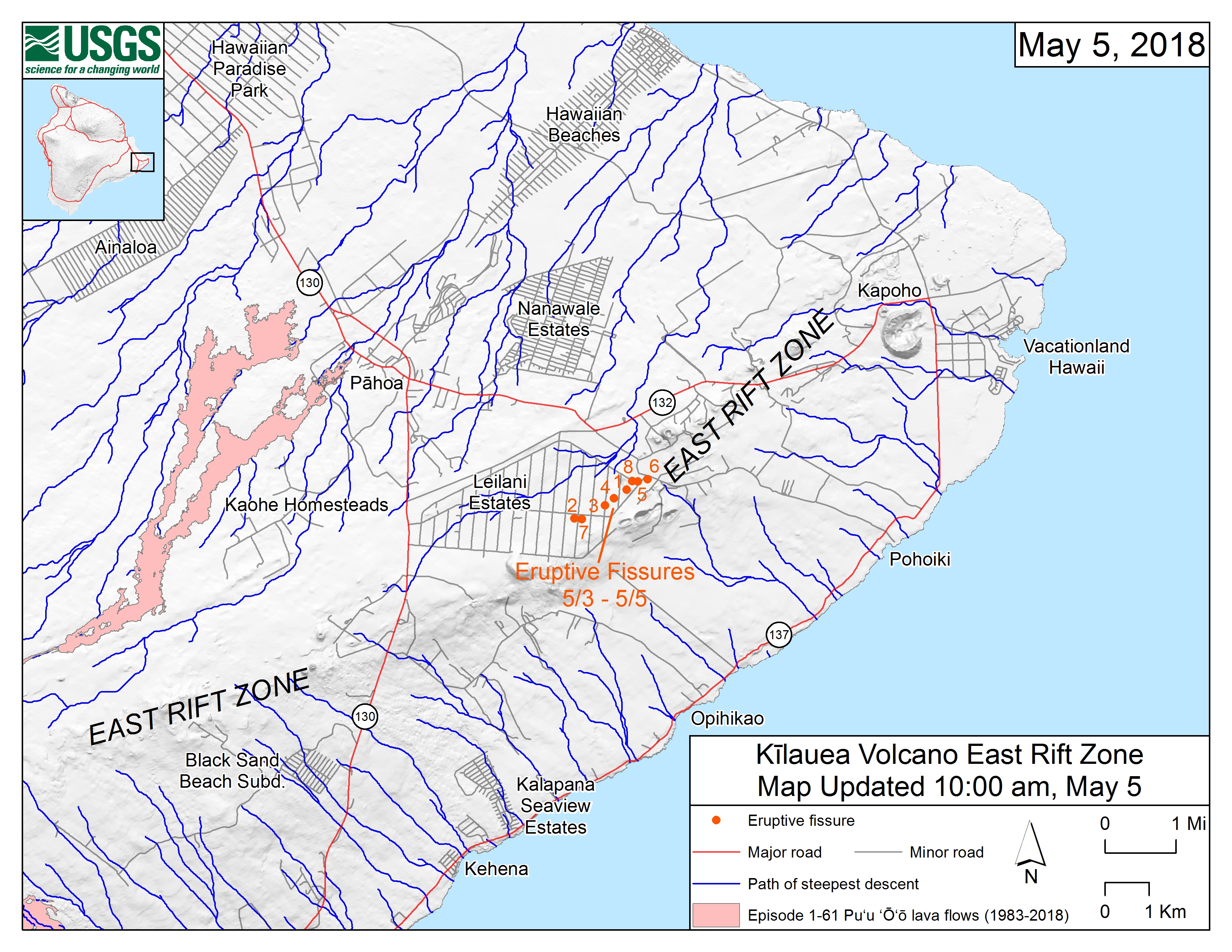 Hawaii Map Lava.Maps Show Where The Lava May Flow Big Island Now
