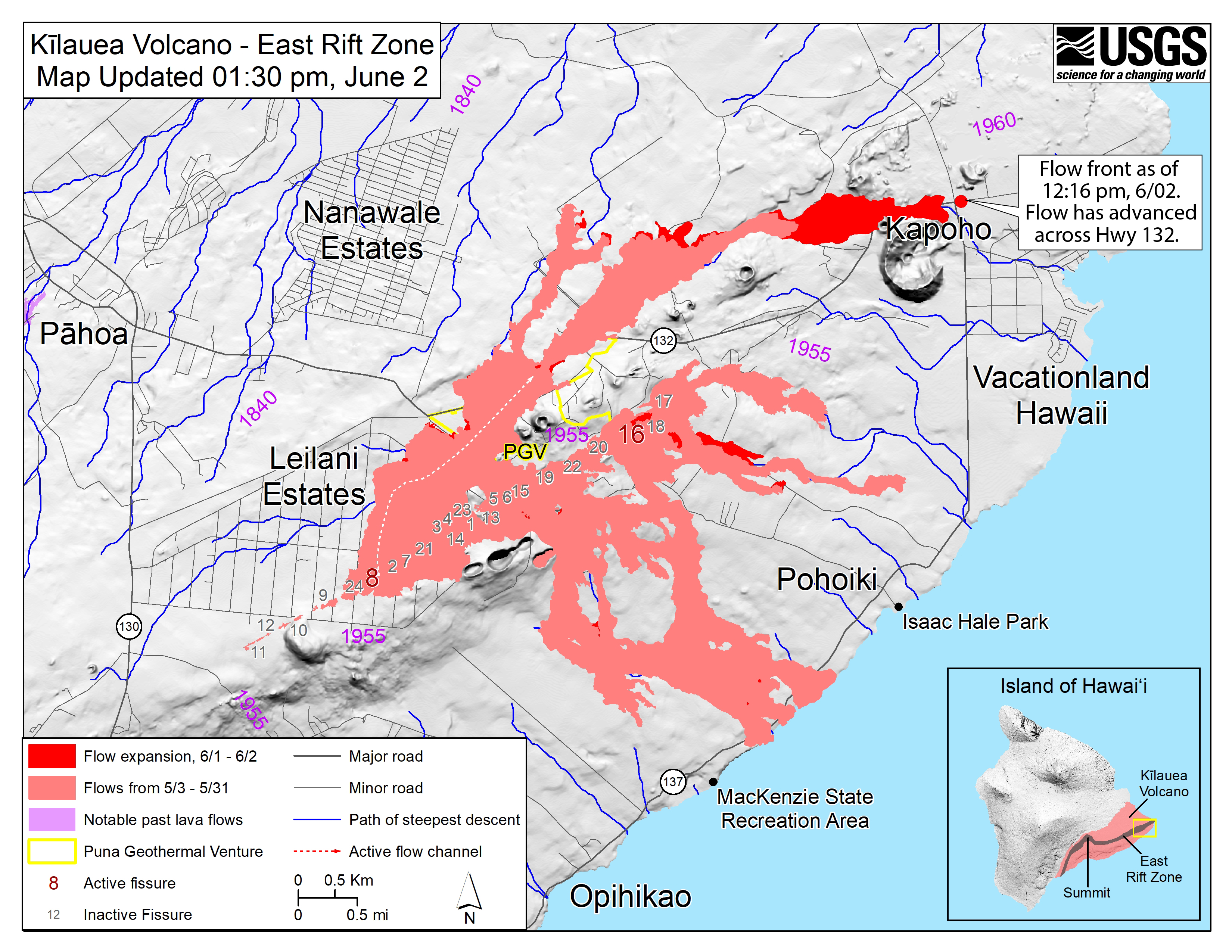 Hawaii Map Lava.New Map Released Shows Where Lava Crossed Hwy 132 Big Island Now