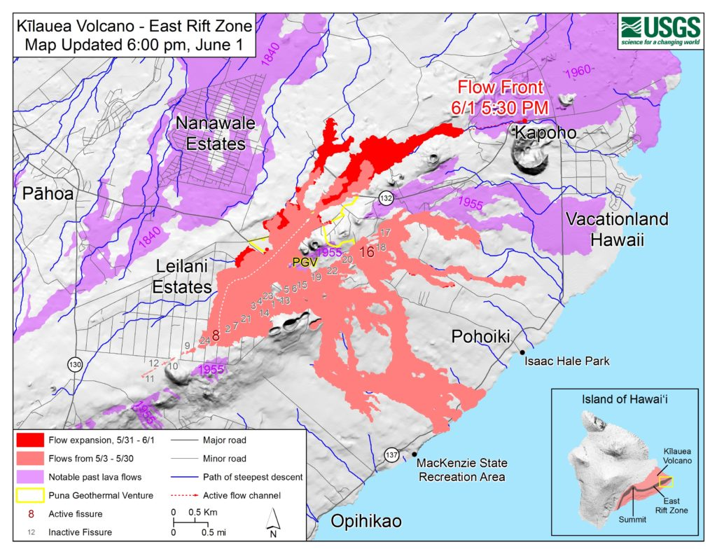 USGS Map June 2 1024x791 - Kilauea Volcano: New Phase; Lava Flow Hits Green Lake