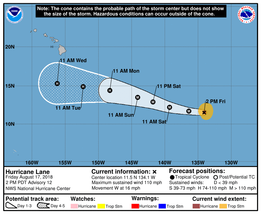 Powerful Hurricane Lane on path to move south of Hawaii this week