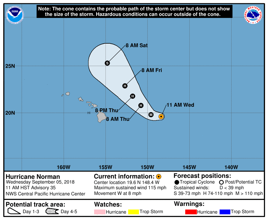 Hurricane Norman on course to pass Hawaii to northeast