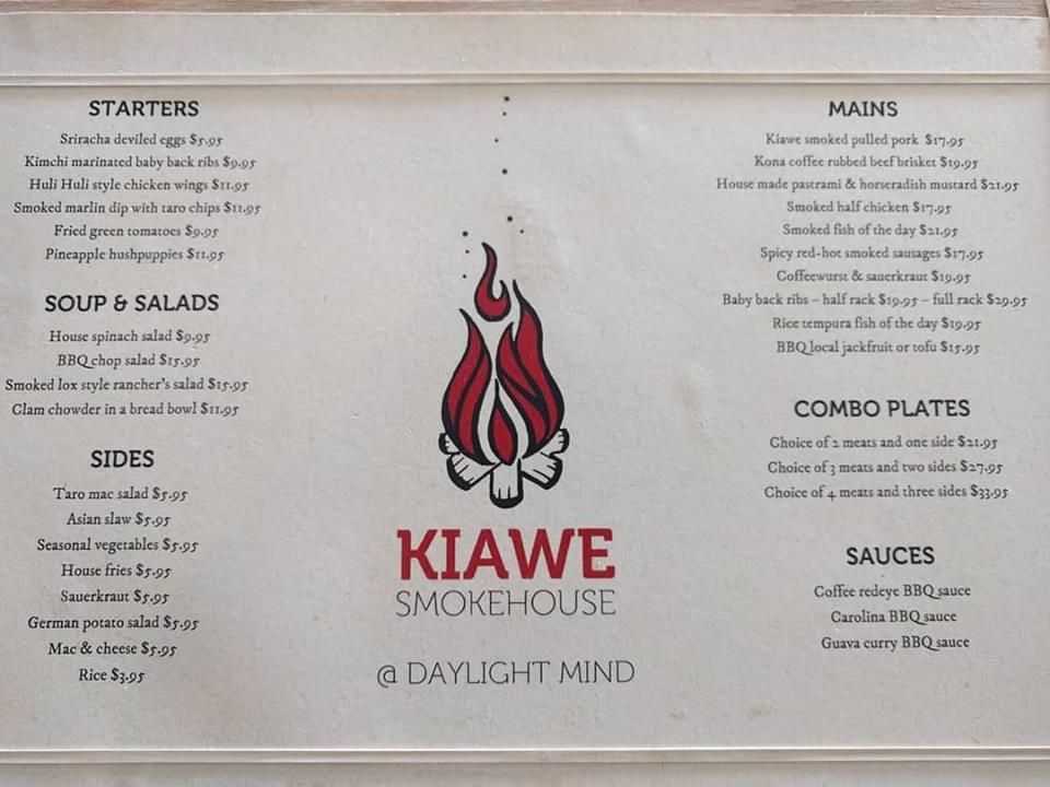 Kiawe Smokehouse @ Daylight Mind menu