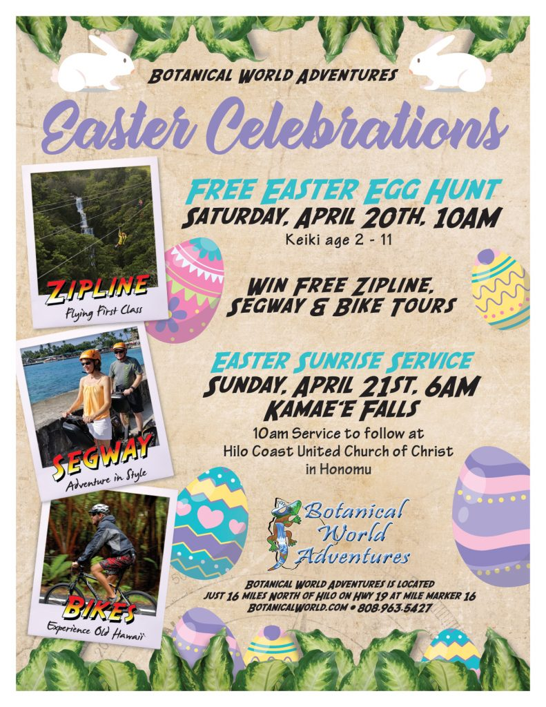 Botanical World Adventures will hold its Fifth Annual Easter Egg Hunt on Saturday, April 20, 2019.