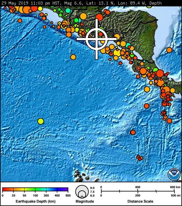 No Tsunami Threat to Hawai'i From Late-Night El Salvador