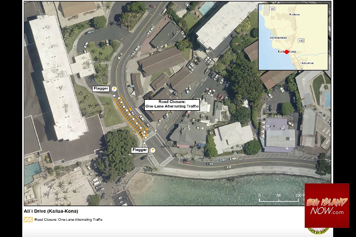 Section of Aliʻi Drive Reduced to One Lane for Roadwork