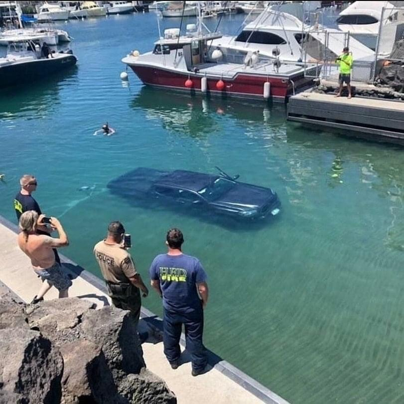 Truck submerged at Honokohau Harbor